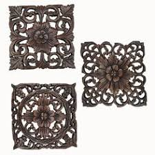 carved wood wall plaques large square floral wood