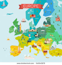 map of europe images map europe name countries travel tourism stock vector 542643679