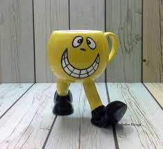 funny emoji mug office mug face cup on legs yellow coffee
