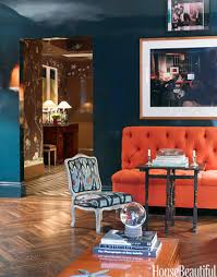 Orange Sofa Chair Unexpected Color Combos That Actually Work Dark Blue Walls