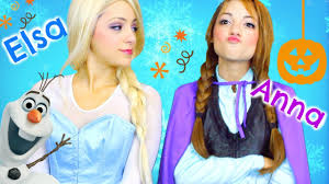 elsa and anna halloween costume hair makeup youtube