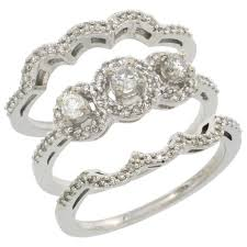3 engagement rings white gold 3 engagement ring set 0 585 cttw
