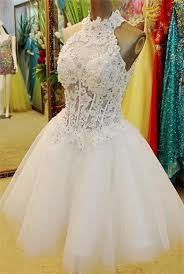 ball gown high neck open back short white tulle lace beaded tutu
