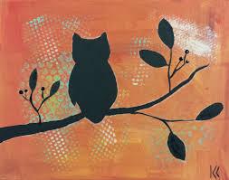 angela anderson art blog owl silhouette paintings kids art class