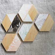 marble hexagon wooden coasters set of four