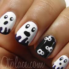 orange french tip stitches design halloween nail art