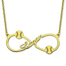 Gold Chain With Name Online Shop Customized Infinity Baseball Necklace With Name Gold