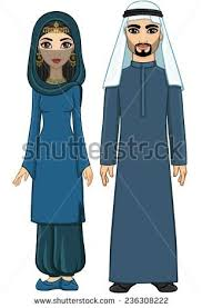 types traditional muslim women clothing headscarf stock vector