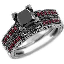 engagement rings with black diamonds ct princess black ruby engagement ring set
