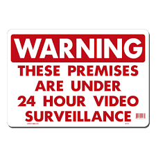 lynch sign 14 in x 10 in 24 hour surveillance sign printed