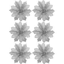 holiday time silver clip on poinsettia christmas ornaments set of 6