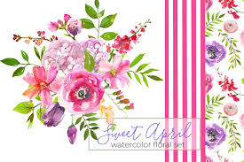 Watercolor Flowers - sweet april watercolor flowers illustrations creative market