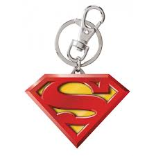 superman logo color pewter keyring