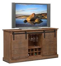 ashcroft media credenza with wine storage driftwood value city