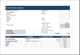 Invoice Templates For Excel Travel Service Invoice Template For Excel Excel Templates