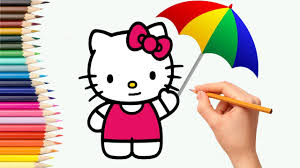 coloring pages how to draw hello kitty cat and spongebob miniion
