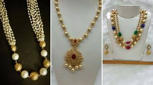 necklace gold pearl images Latest 10gram gold pearl necklace designs jpg