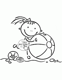 little with beach ball coloring page for kids seasons