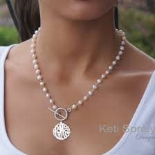 pearl monogram necklace handmade personalized pearl necklace with monogram initials charm