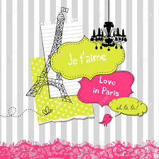 cute scrapbook elements in french style royalty free cliparts