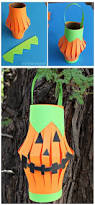 Recycled Halloween Crafts - pumpkin toilet paper roll lantern craft paper halloween toilet