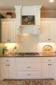 awesome kitchen backsplash tile ideas beige stained wall and brown