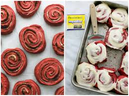 red velvet cinnamon rolls with brown butter cream cheese frosting