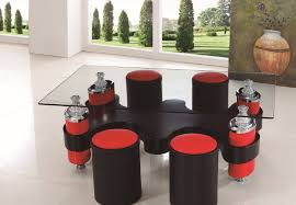 red and black coffee table coffee table with stools invites more friends to hang out homesfeed