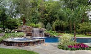 Tropical Backyard Designs Tropical Backyard Swimming Pool Waterfall Design Bergen County Nj