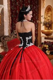 black and crimson red quinceanera party sweet 16 dress