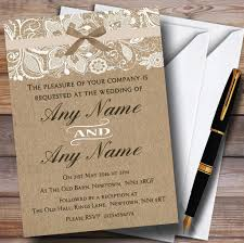 vintage burlap u0026 lace personalised wedding invitations amazon co
