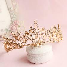 baroque crown gold leaf tairas dragonfly bridal hair accessories