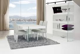 Modern White Dining Room Set by Contemporary White Gloss Top Floating Dining Table Detroit