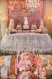 Pink And Gold Dessert Table by Party Setup Dessert Table From A Pink Gold 1st Birthday Party