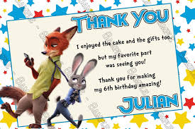 novel concept designs zootopia movie birthday party thank you cards