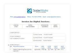 sample gst invoice for digital marketing web hosting and web