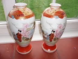 Japanese Kutani Vases Pair Of Antique Japanese Kutani Vases Delicately Painted Each