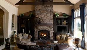 living room ideas with brick fireplace and tv decoraci on cabin