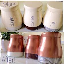 copper spray painted canisters using plastikote metallics spray