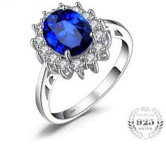 silver sapphire rings images Sterling silver flower 3 2ct created blue sapphire ring september jpg