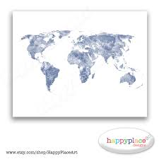 Large World Map Poster by Blue And White World Map Print For Instant Download 8x10 Or