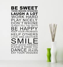 home decor rules be sweet smile quote family rules wall art stickers words home