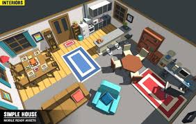 simple house interiors cartoon assets 3d model