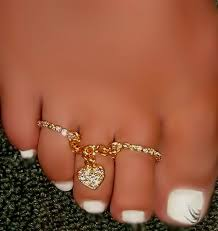 double toe rings images Sexy feet double rings crystal heart toe ring attached chain jpg
