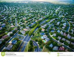 bird s eye view suburbia modern homes vast texas hill country