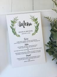 Wedding Invitations With Menu Cards Rustic Menu Card Wedding Menu Card Greenery Wedding Menu