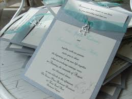 beautiful silver and aqua handmade wedding invitations with double