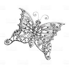 steam punk mechanical insect butterfly black and white ink sketch