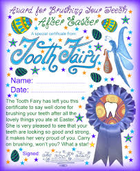tooth fairy certificate well done for brushing your teeth after
