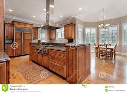 kitchen with wood and granite center island stock photo image